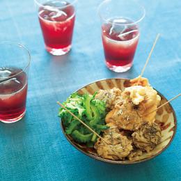 もずくと豚肉の沖縄風天ぷらと泡盛のソーダ割り - 金曜日のアペロ No.04