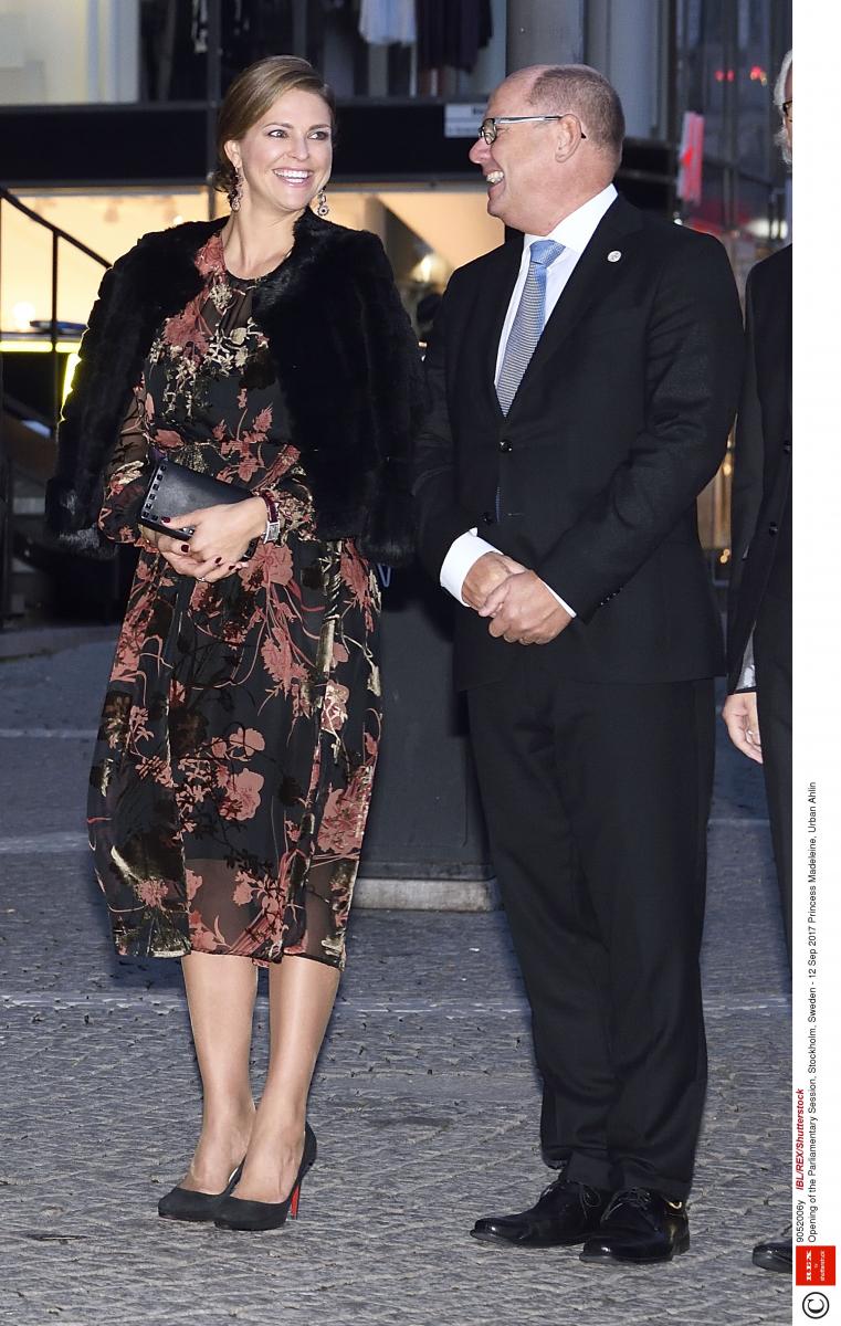 【マデレーン王女×ドレス】ヴィクトリア皇太子の妹で、モード誌のカバーを飾ったこともある美貌の持ち主。ザラのシフォンドレスをヴァレンティノのクラッチ&クリスチャン ルブタンのパンプスと組み合わせたハイ&ローミックスコーデでコンサートへ。(2017.9)