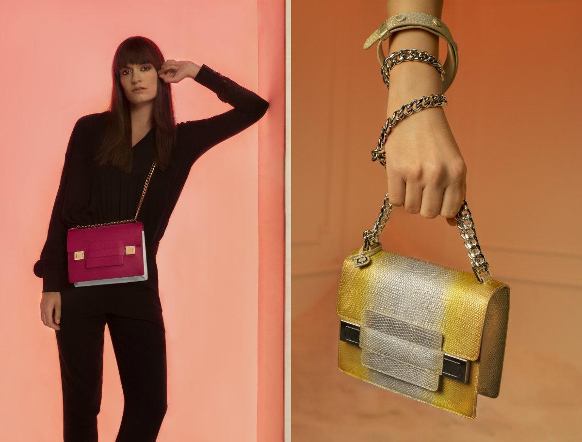 バッグ「マダム ミニ チェーン カーフスープル」〈H15x W18 x D6cm〉¥465,000/デルヴォー・ジャパン