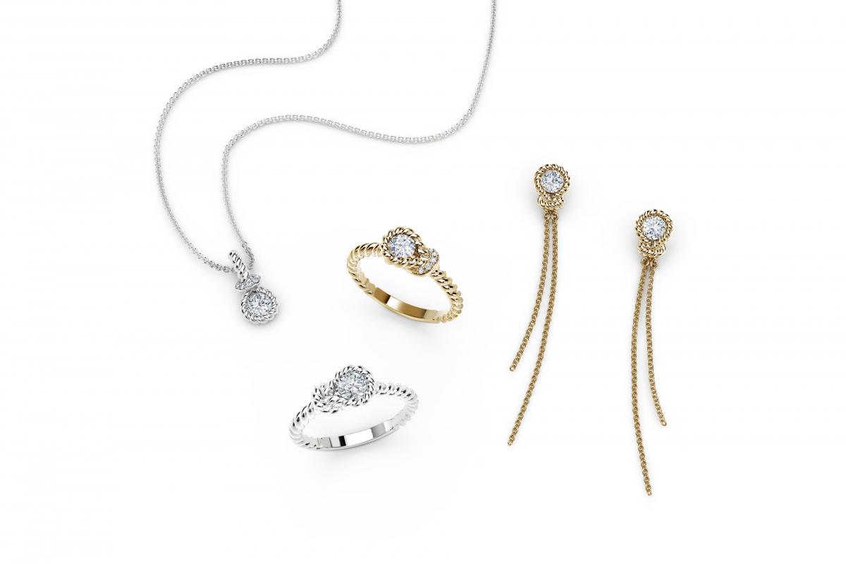 新デザイン「Tight Knot (タイトノット/かたいきずな)」は、リング、ペンダント、ピアスの3種類がラインナップ