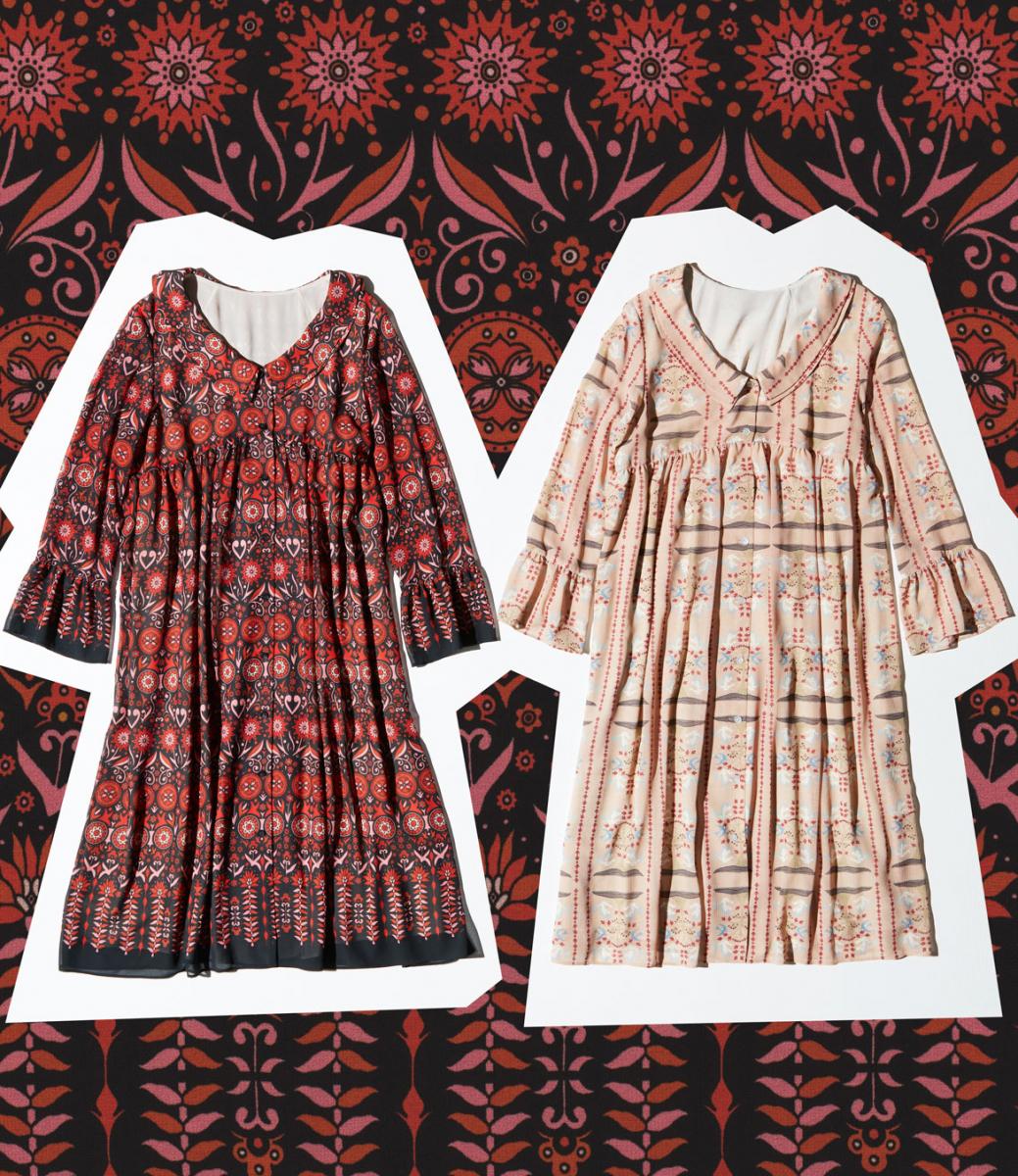 4.  羽織&ドレスとしてマルチに活躍するプリントガウン