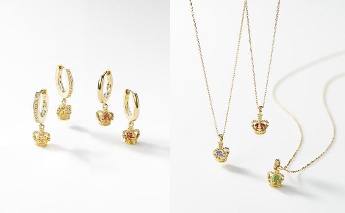 左から:シングルピアス(K18YG×パヴェダイヤモンド×バースストーン)¥75,500、「GLORY」シングルピアス(K18YG×バースストーン)¥60,000~、「GLORY」ネックレス(K18YG×バースストーン)¥70,000~*素材はYG、PG、WGの3種で展開