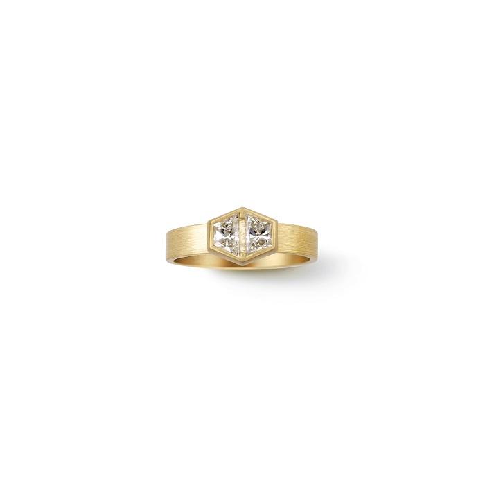 Trapezoid Ring〈18KYG、ダイヤモンド〉¥880,000