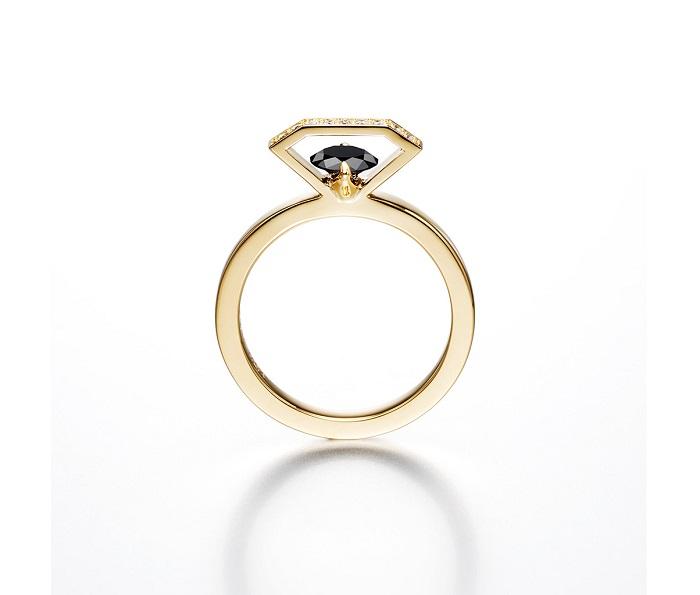 エンゲージメントリング<K18YG、ブラックダイヤモンド、ダイヤモンド>¥200,000~