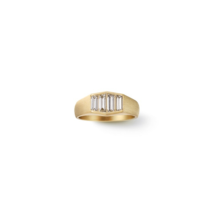 Trapezoid Diamond Signet Ring〈18KYG、ダイヤモンド〉¥759,000