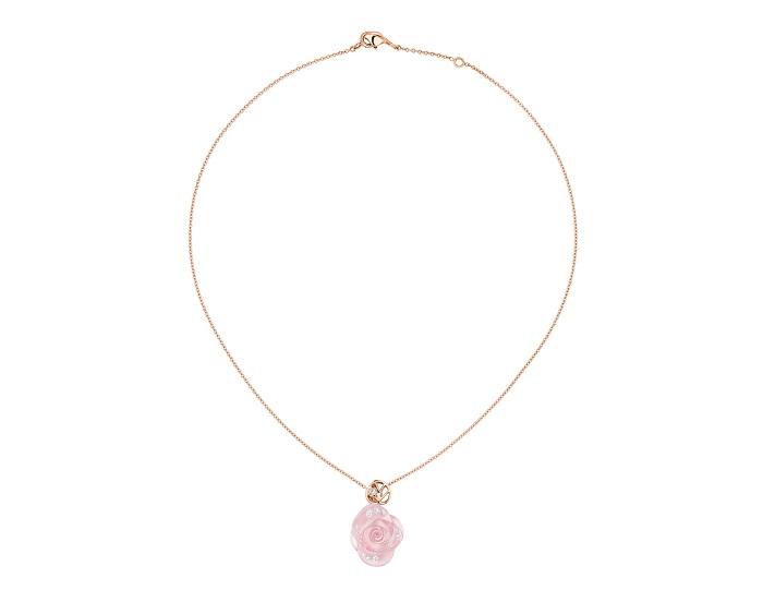 「ローズ ディオール プレ カトラン」ネックレス(PG×ダイヤモンド×ピンククオーツ)¥900,000