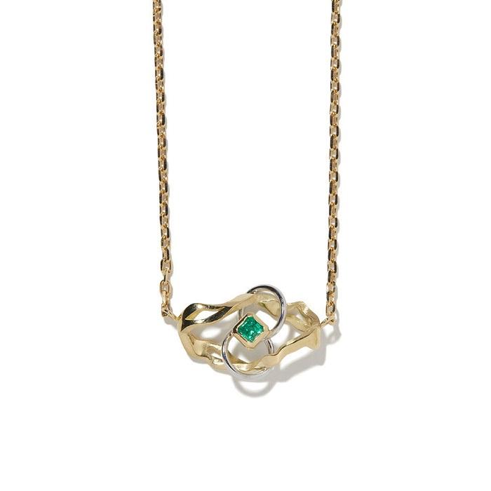 Kintsugi Infinity ネックレス(40cm)〈YG、WG、エメラルド〉¥327,800