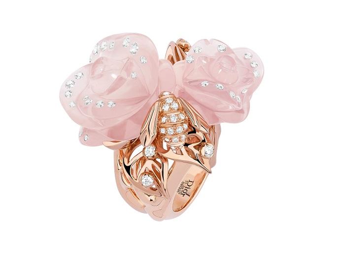 「ローズ ディオール プレ カトラン」リング(PG×ダイヤモンド×ピンククオーツ)¥2,700,000
