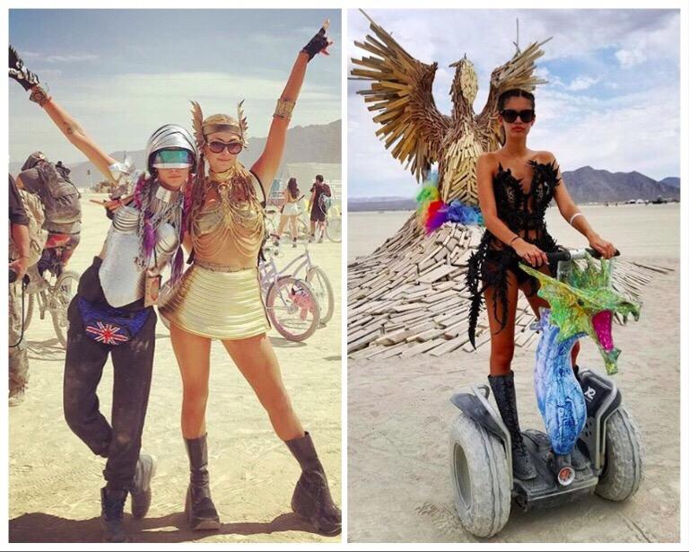 (写真左)サラ・サンパイオは、ドラゴンにオリジナルカスタムしたセグウェイに乗って登場。(写真右)カーラ・デルヴィーニュ(写真左)とパリス・ヒルトン(写真右)の貴重な2ショット