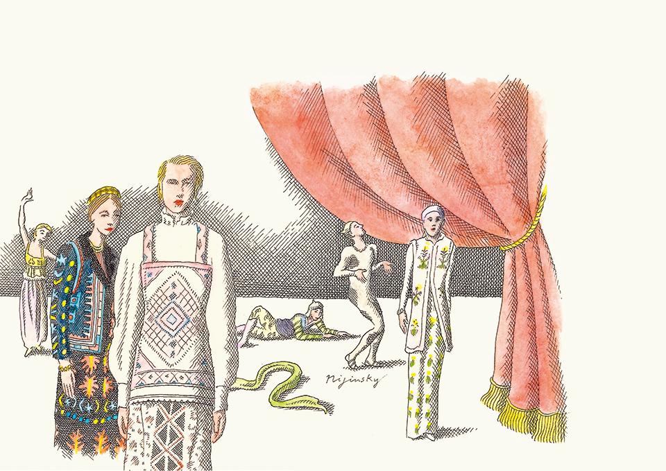 東欧から吹く風 イラストレーター、ピエール・ル・タンが描く、 さまざまな表情のロシアン・ファッション。 このスタイルの先駆けとなった、 1909年のエキゾティックなバレエ・リュスのコスチュームは、 現在もなお、ジャンバティスタ・ヴァリ、 ヴァレンティノといったヨーロッパのメゾンを魅了してやまない