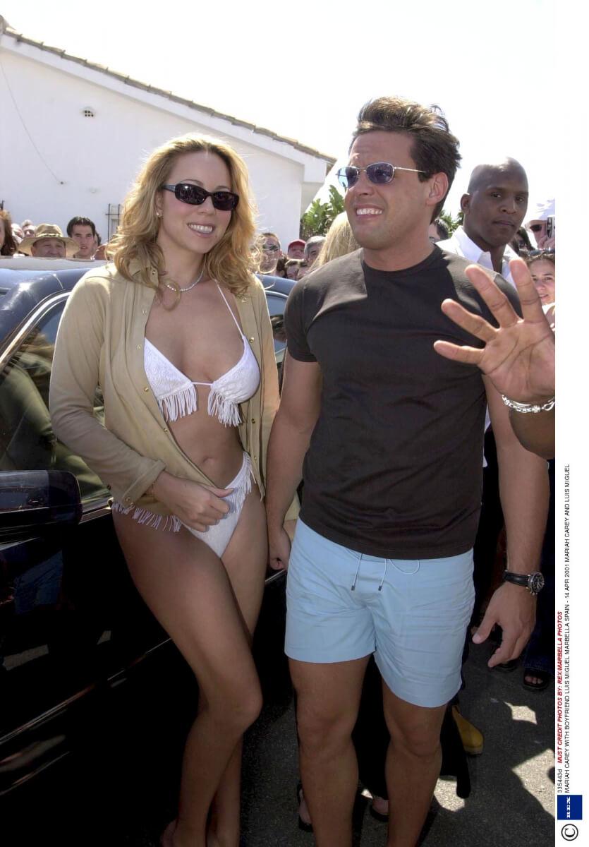 1999年にメキシコ人歌手、ルイス・ミゲルと交際していたマライア・キャリー。