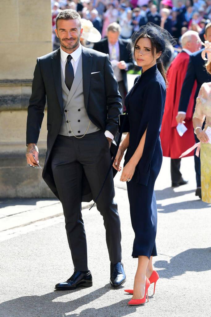 2018年、ヘンリー王子とメーガン妃のロイヤルウェディングに出席したデヴィッド&ヴィクトリア・ベッカム。