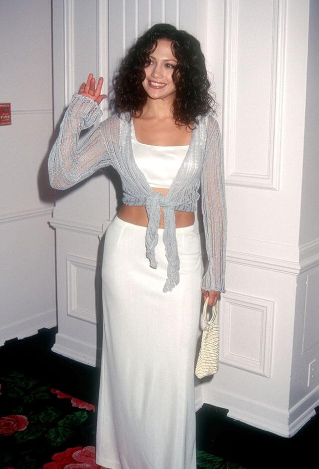 1996年、27歳のころのジェニファー・ロペス。前年、映画『ミ・ファミリア』で本格的に銀幕デビューを飾る。