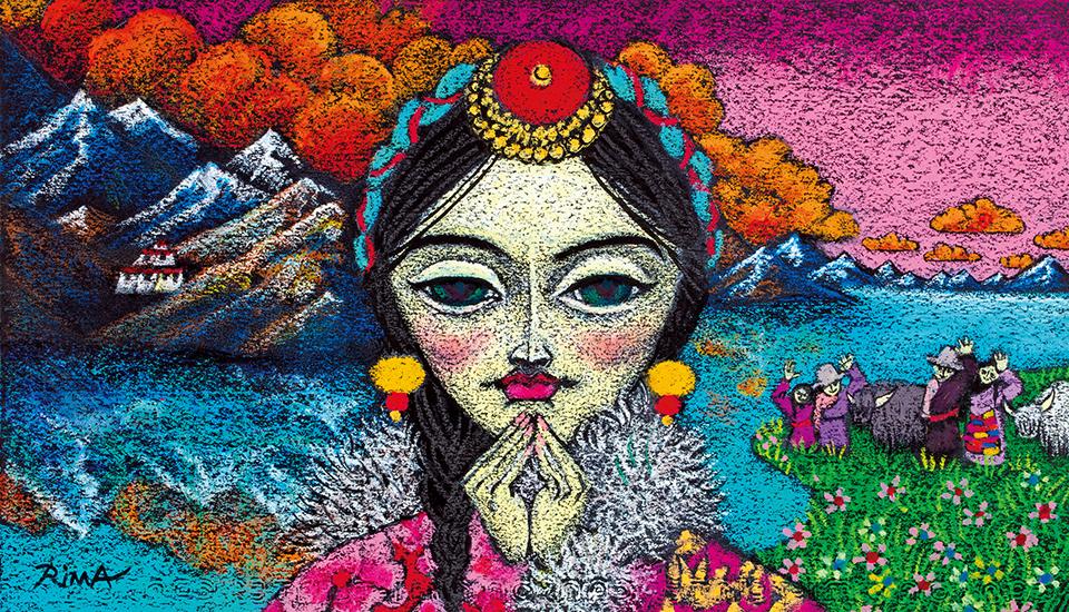 """《心の故郷》© Rima Fujita 2018;ミクストメディア / 紙  """"Home"""" © Rima Fujita, 2018, Mixed media on paper ダラムサラのホテルのレストランで給仕してくれた女性の身の上話を聞いて  心を打たれたあと、夢に出てきたビジョン。女性の芯の強さ、寂しさ、  うれしさ、希望、遠く離れた家族へ寄せる愛情などが  複雑に混じり合った黒い瞳が忘れられない"""