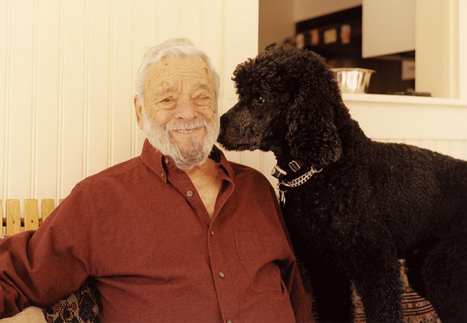 ソンドハイムとウィリー。2匹いる彼のスタンダード・ブラック・プードルの一匹