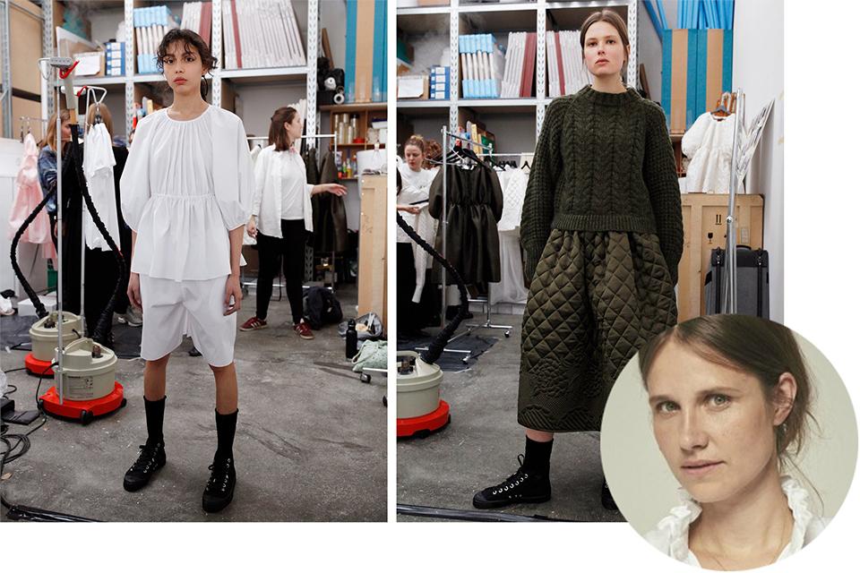 (写真右下)セシリー・バーンセン。アーデムやジョン ガリアーノで働いた後に  自らのブランドを立ち上げ、LVMHプライズ2017にノミネートされた。  (写真左・中央)白いコットンブラウスとショートパンツのルックに、  シルクのキルトスカートとウェルシュニットを合わせたルック。  ともにセシリー バーンセン'18-'19年秋冬コレクションより