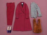 マスキュリンにもエレガントにも着られるピンクのコートを、今年は一着