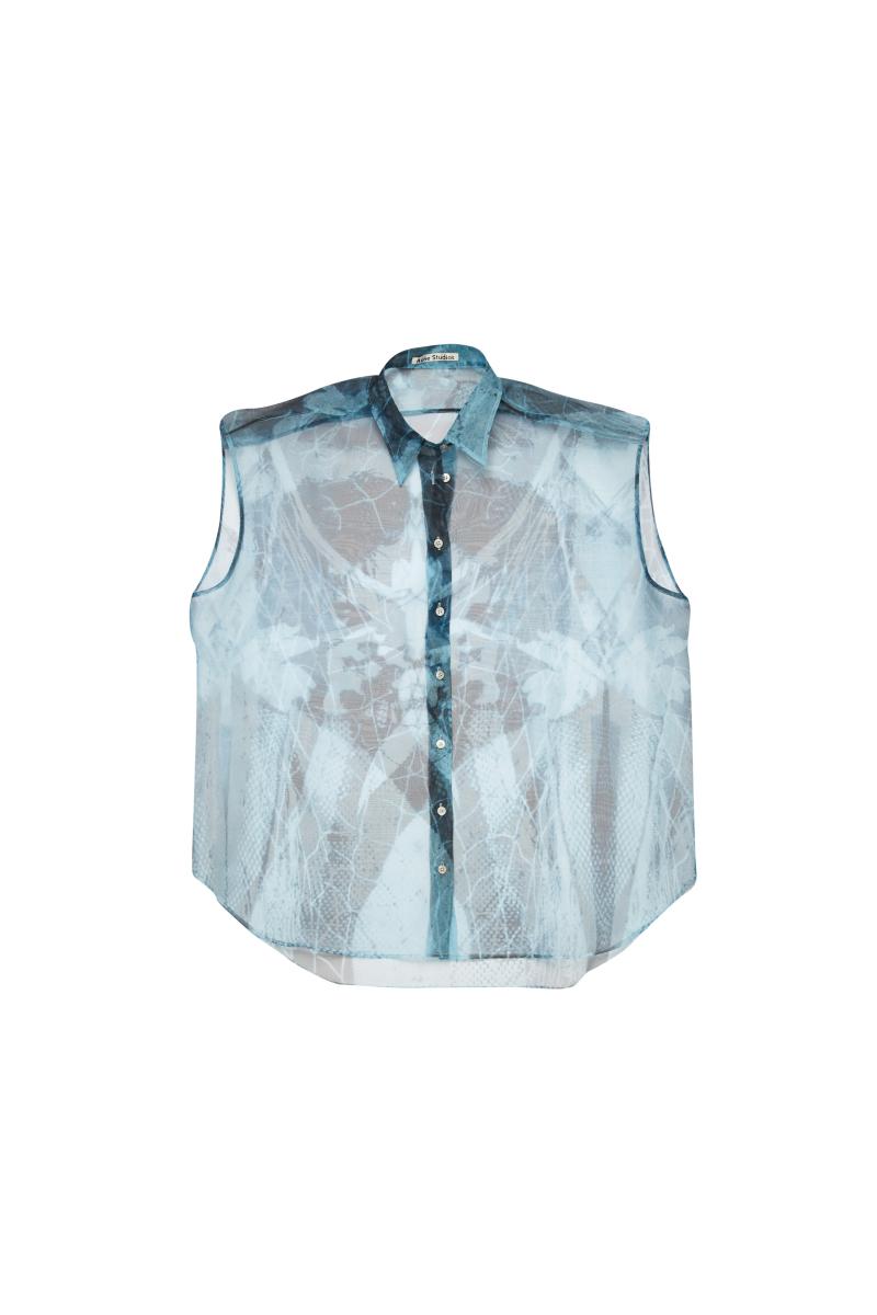 シースルーノースリーブシャツ¥55,000 ※近日発売予定