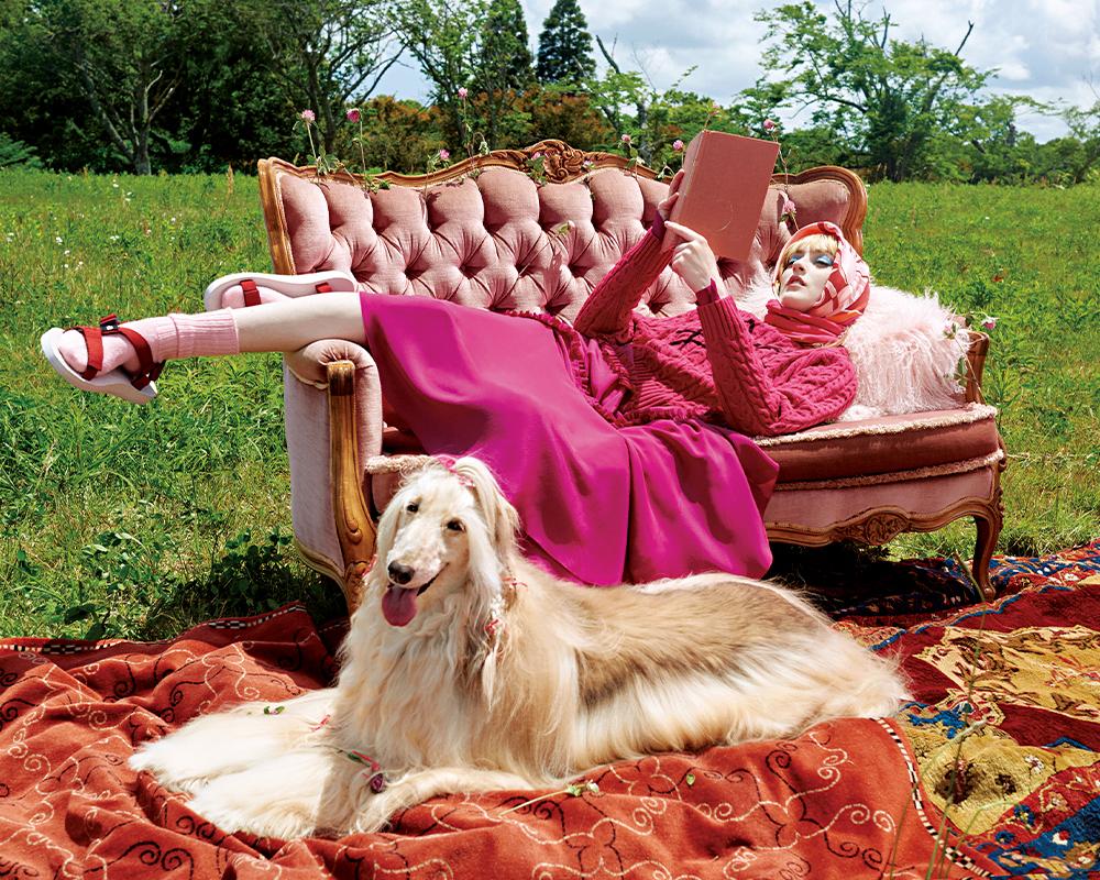 草原を渡る風に包まれて。ピンクの甘いレイヤード