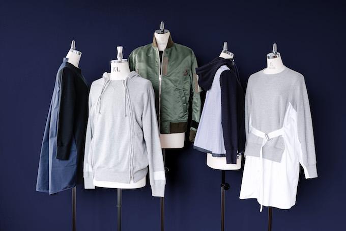 左からドレス ¥39,000、パーカー ¥39,000、ブルゾン ¥69,000、パーカー ¥39,000、ドレス ¥42,000(全て税抜き)