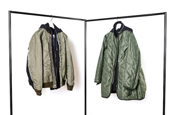 左からブルゾン(メンズ) ¥79,000、コート(レディス) ¥79,000