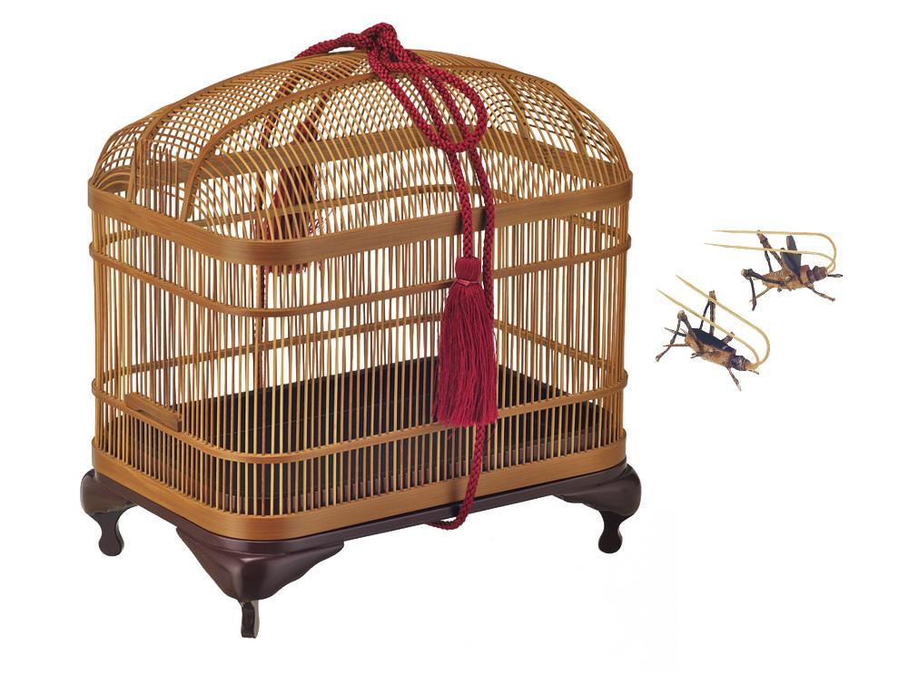 虫かご〈H23×W20×D15.5〉¥74,600・鈴虫オス(上)・メス(下)各¥2,400/静岡竹工芸協同組合