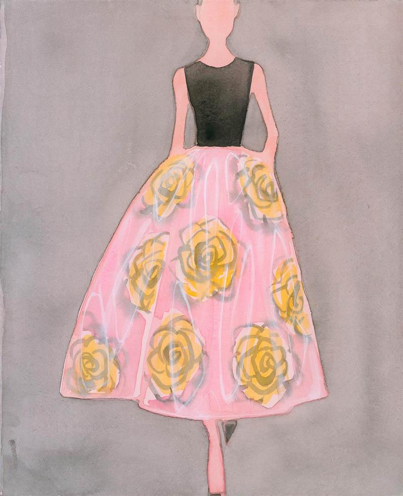 ラフ・シモンズによるディオール2013年春夏コレクションを描いた作品。Image courtesy of artist