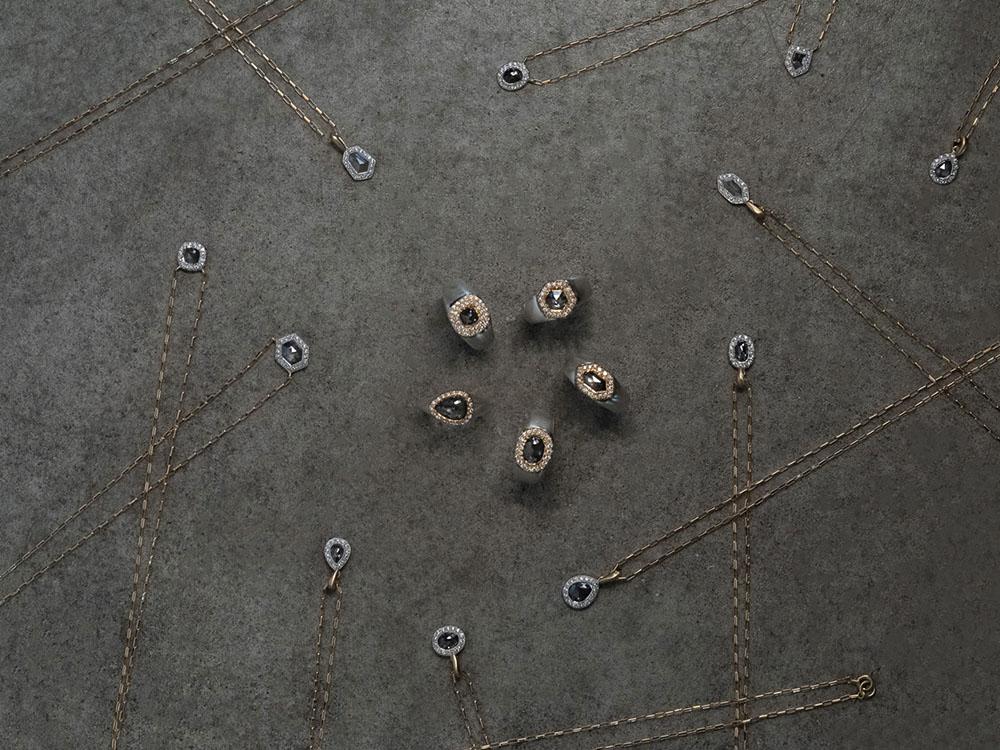 インクルーディングダイヤモンドを用いたジュエリーをラインナップ。