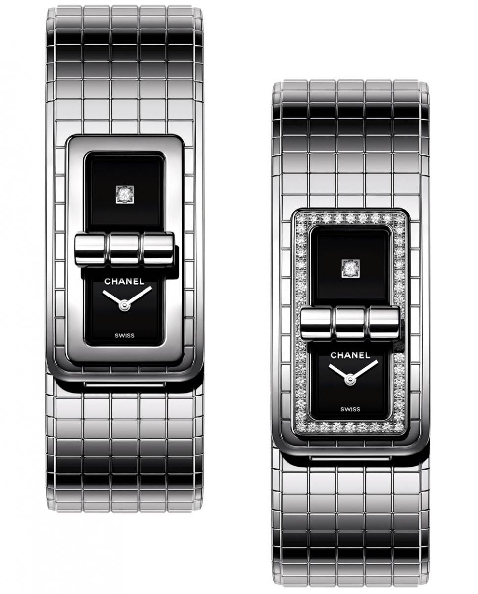 (左から)「コード ココ」ウォッチ(SS×ダイヤ、SSストラップ、クォーツ)¥575,000、¥1,055,000