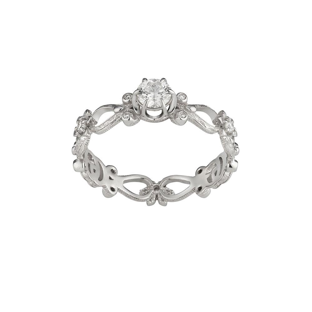"""""""フローラ""""リング〈18KWG、ダイヤモンド〉¥305,000"""