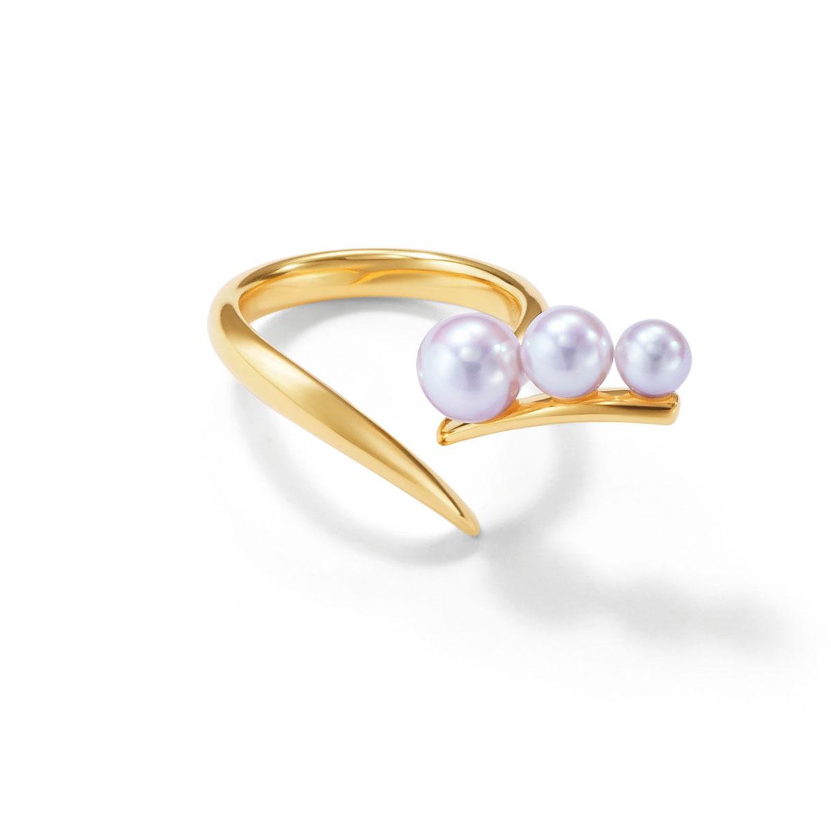 リング〈18KYG、あこや真珠〉¥218,000