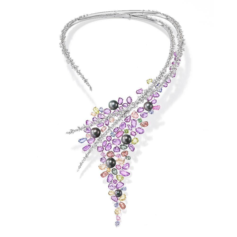 「TASAKI Atelier」イリミタブル ネックレス〈18KWG、ダイヤモンド、サファイア、南洋黒蝶真珠〉
