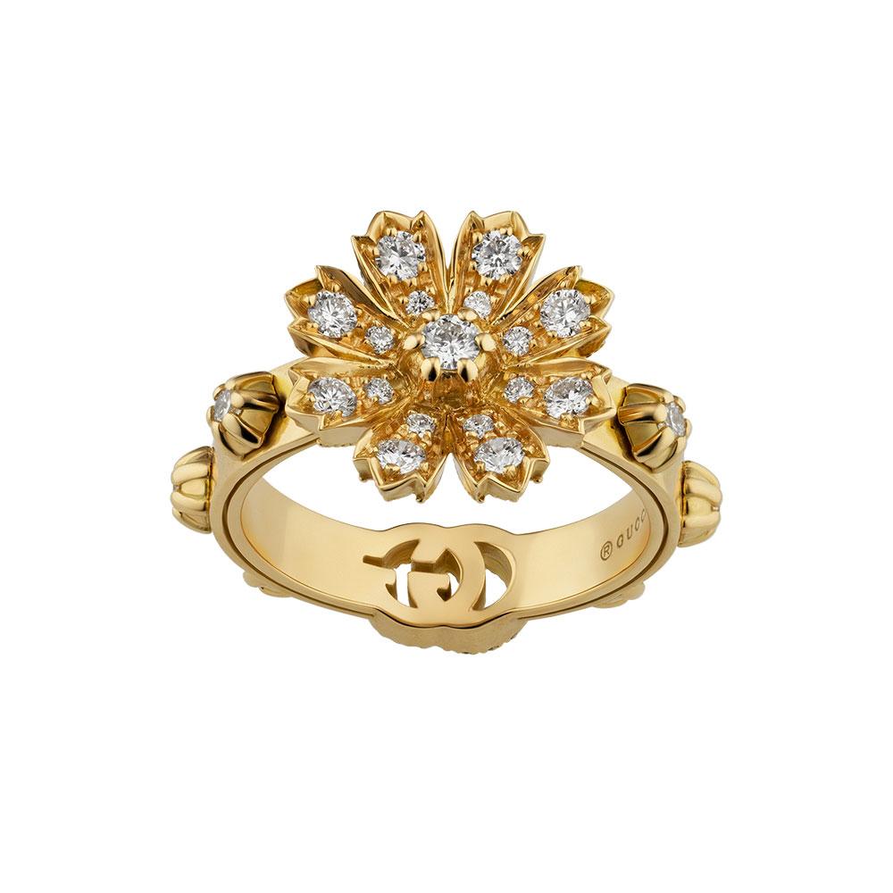 """""""フローラ""""リング〈YG、ダイヤモンド〉¥550,000"""