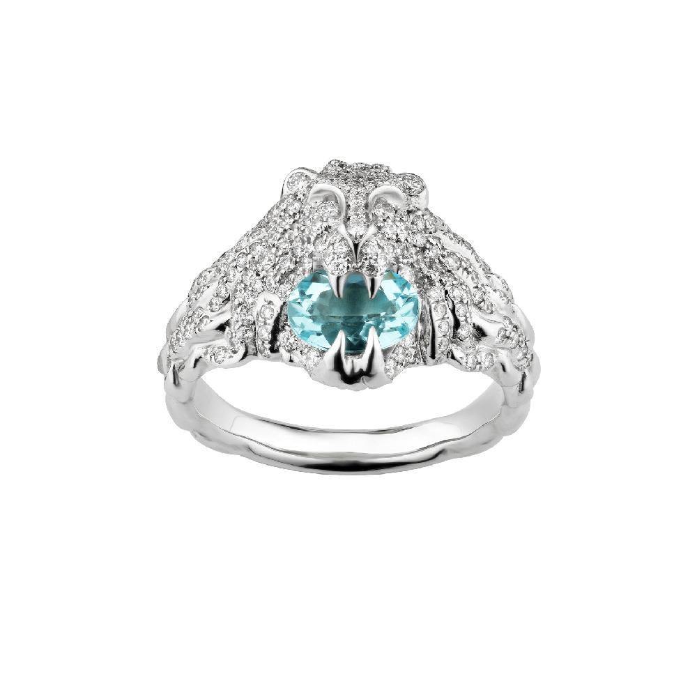 """""""ライオンヘッド""""リング〈ホワイトゴールド、ダイヤモンド、アクアマリン〉¥787,000"""