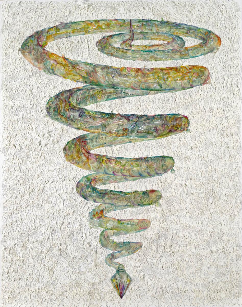 ウー・ジエンアン「THE WHITE SNAKE HID IMMEDIATELY」(手染めろう紙、木綿糸、ペーパー)2015年 Image courtesy of Wu Jian'an and Chambers Fine Art, New York