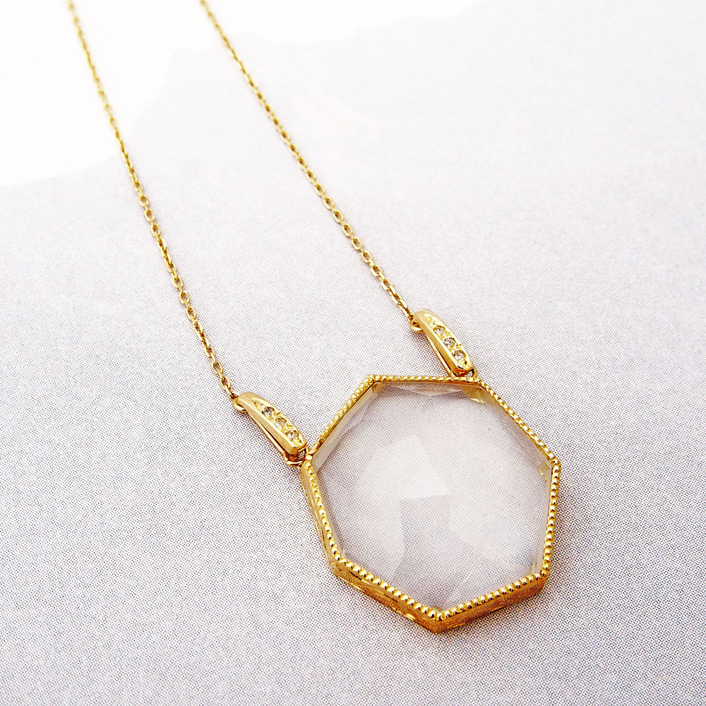 ネックレス(18KYG×サテンクオーツ×ダイヤモンド)¥230,000/リニエ