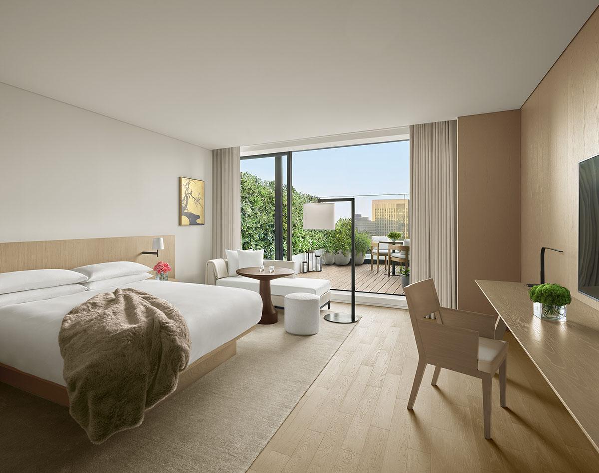 ミニマルモダンな客室、開放的なテラス付きの部屋も