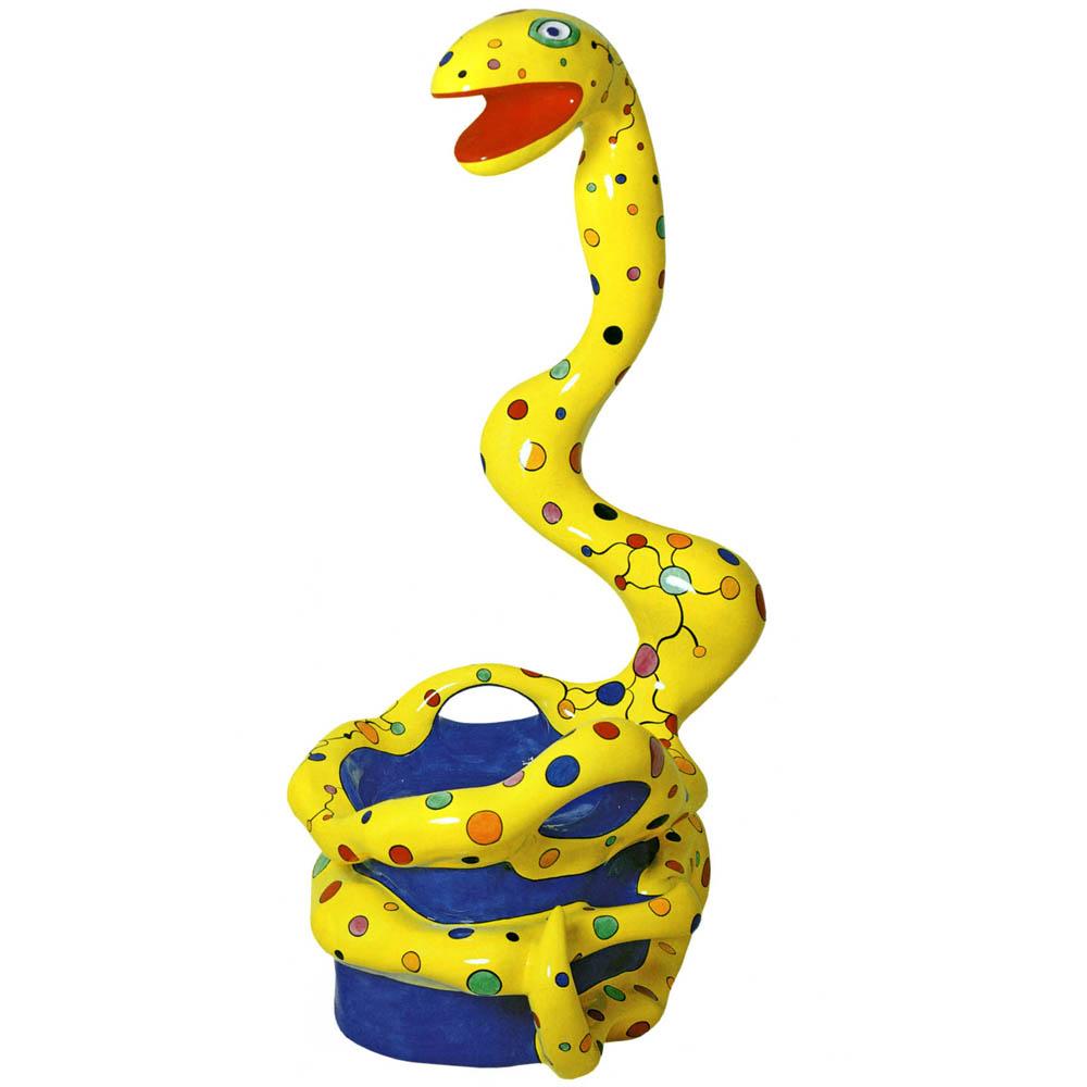 ニキ・ド・サンファル「Pouf serpent jaune」(ポリエステル塗料、ポリウレタン塗料)1994年 © 2017 Niki Charitable Art Foundation