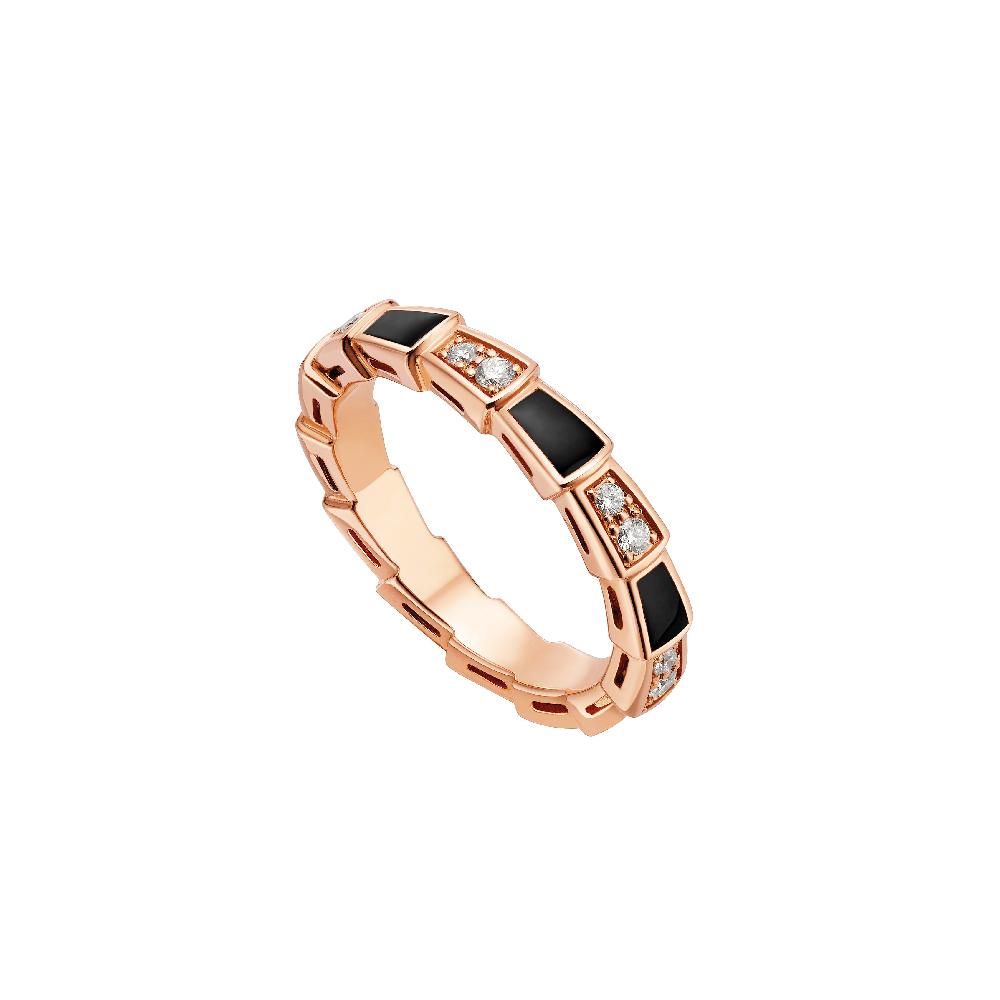 """""""セルペンティ ヴァイパー""""リング〈ピンクゴールド、ダイヤモンド、オニキス〉¥365,000"""