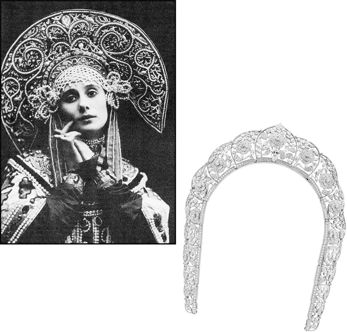"""(左)セルゲイ ディアギレフ率いる「バレエ リュス」のプリマドンナ、アンナ パヴロワ。© Heritage Images / Contributor(右)流麗なエンブロイダリーを表現したオープンワークのティアラ。""""パリ リュス"""" コレクションのマスターピース。"""