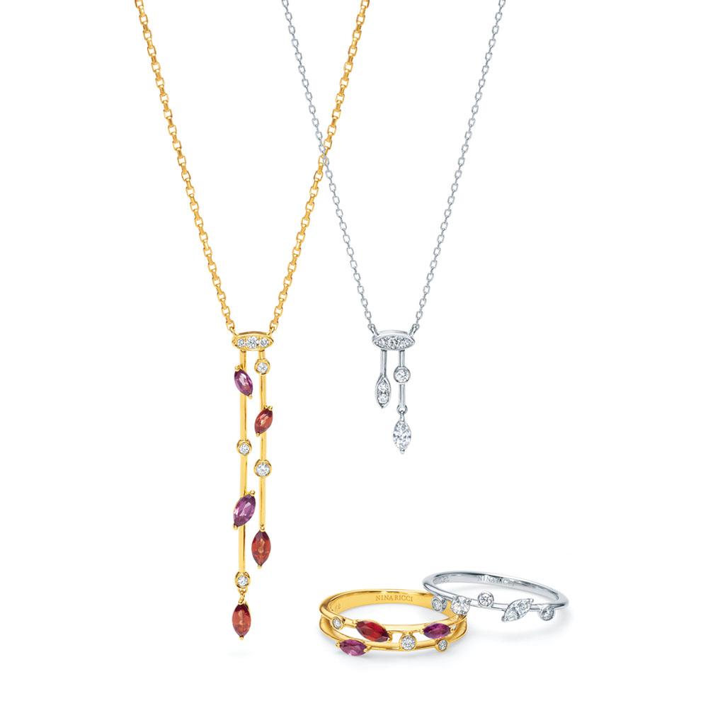 <左から>「ラ ピス エトワール」ネックレス(18KYG×ガーネット×ダイヤモンド)¥227,000、同ネックレス(Pt×ダイヤモンド)¥178,000、同リング(18KYG×ガーネット×ダイヤモンド)¥142,000、同リング(Pt×ダイヤモンド)¥166,000