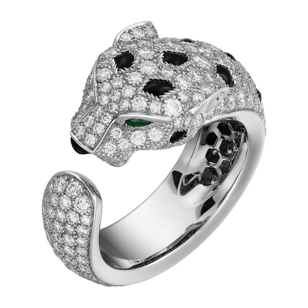 """""""パンテール ドゥ カルティエ""""リング〈WG、ダイヤモンド、エメラルド、オニキス〉¥4,080,000"""