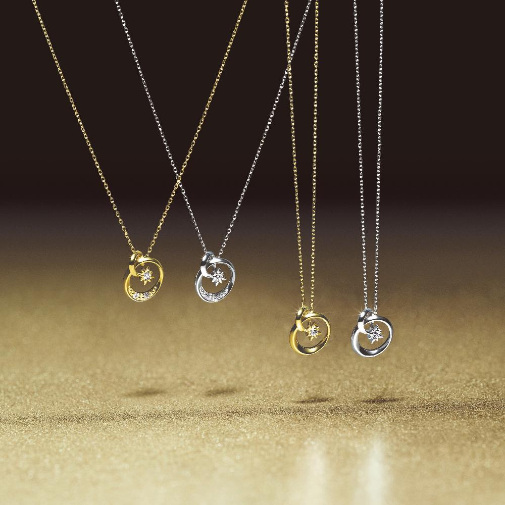 """(左から)""""ダイヤモンド プラネット""""ネックレス〈K18YG、ダイヤモンド〉¥43,000、同ネックレス〈K18WG、ダイヤモンド〉¥45,000、同ネックレス〈K10YG、ダイヤモンド〉¥27,000、ネックレス〈K10WG、ダイヤモンド〉¥28,000"""