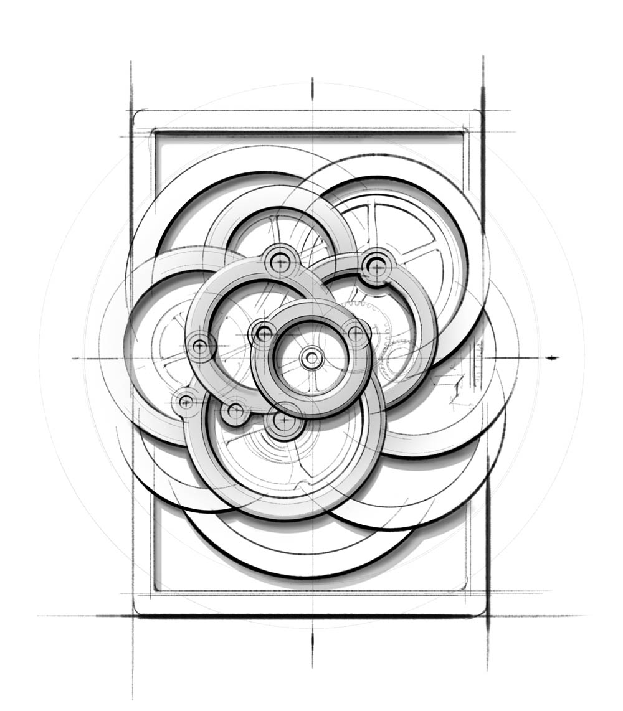 「CHANEL キャリバー 2.カメリア コレクション スケルトン」の構造図。無数のパーツで構成される複雑な機械式ムーブメントを、1つのカメリアの花に見立てた見事な意匠。Photo courtesy of brand