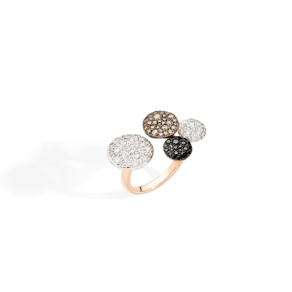 """""""サッビア""""リング〈K18RG、ホワイトダイヤモンド、ブラウンダイヤモンド、ブラックダイヤモンド〉¥1,010,000"""