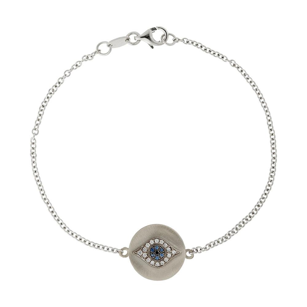 「ゴールデン・アイ」ブレスレット〈18KWG、ダイヤモンド、ツァボライトガーネット、ブルーサファイヤ〉¥269,500