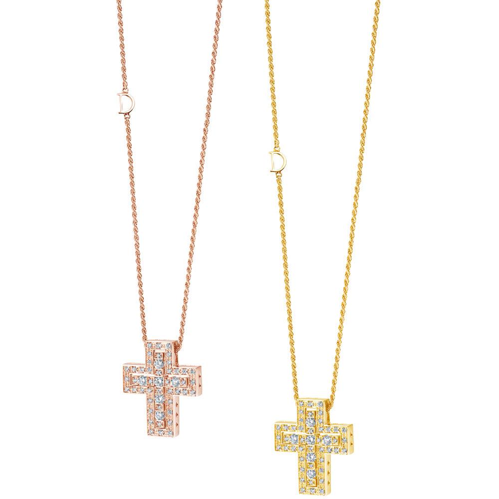 「ベル エポック」ネックレス(PG×ダイヤモンド)Sサイズ¥829,000、Mサイズ¥1,396,000、同ネックレス(YG×ダイヤモンド)Sサイズ¥829,000、Mサイズ ¥1,396,000