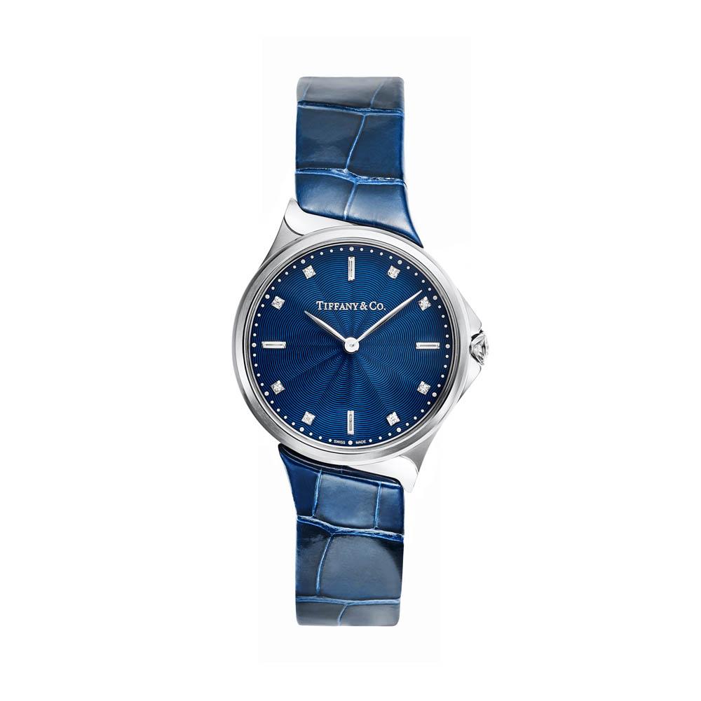「ティファニー メトロ」ウォッチ(SS×ダイヤモンド、28mm径、ブルーアリゲーターストラップ、クオーツ)¥500,000