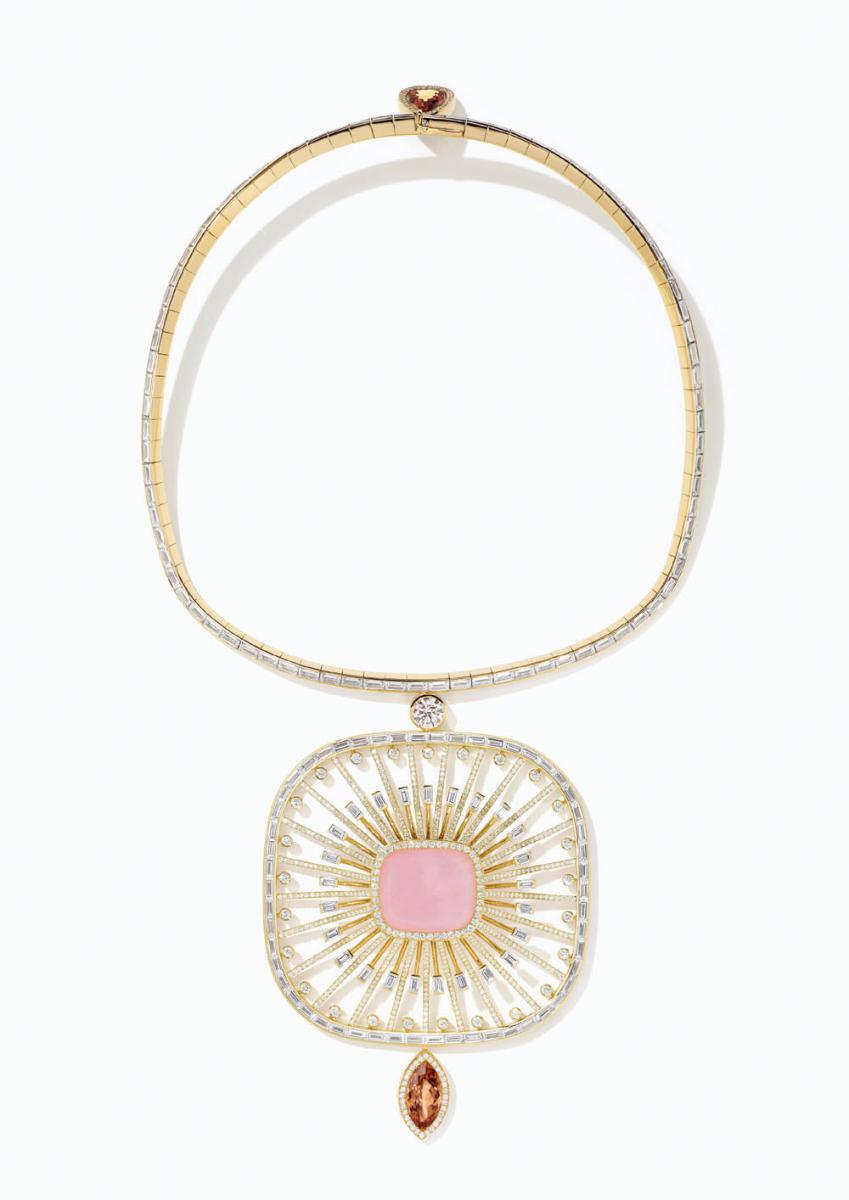 「アトラージュ・セレスト」ネックレス(YG×オパール×インペリアルトパーズ×サファイア×ダイヤモンド)© Hermès
