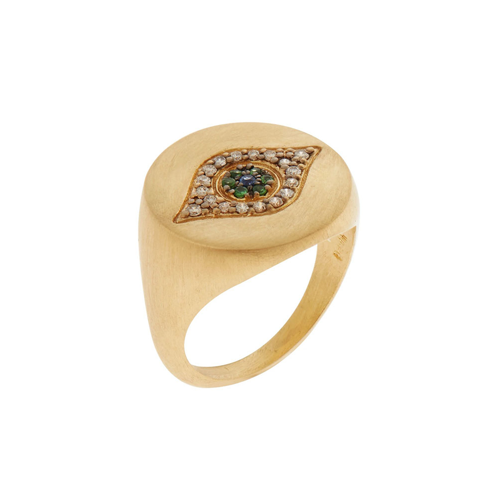「ゴールデン・アイ」リング〈18KYG、ダイヤモンド、ツァボライトガーネット、ブルーサファイヤ〉¥418,000